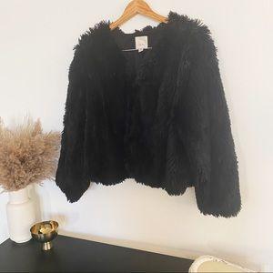 Sejour | Black Fuzzy Teddy Jacket